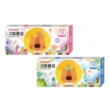 모나미 모니주 수채 그림물감 6ml 12색 학생용